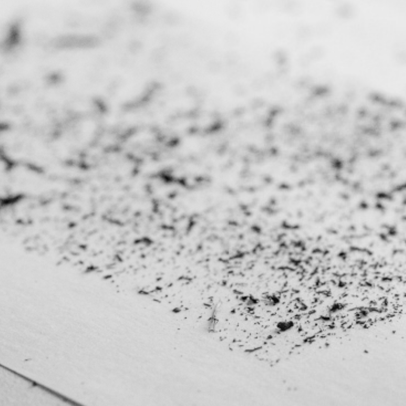 21. Photograph in a diagonal perspective of a piece of paper with charcoal dust. Low depth of field, front, lower half of page in focus back out of focus.
