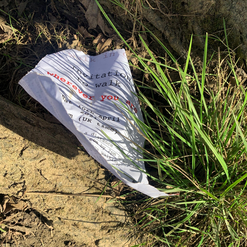 A crumpled note lying in the grass.
