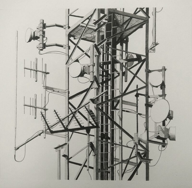 Ink drawing of the first telecommunications mast, looking a bit like a tree with branches.