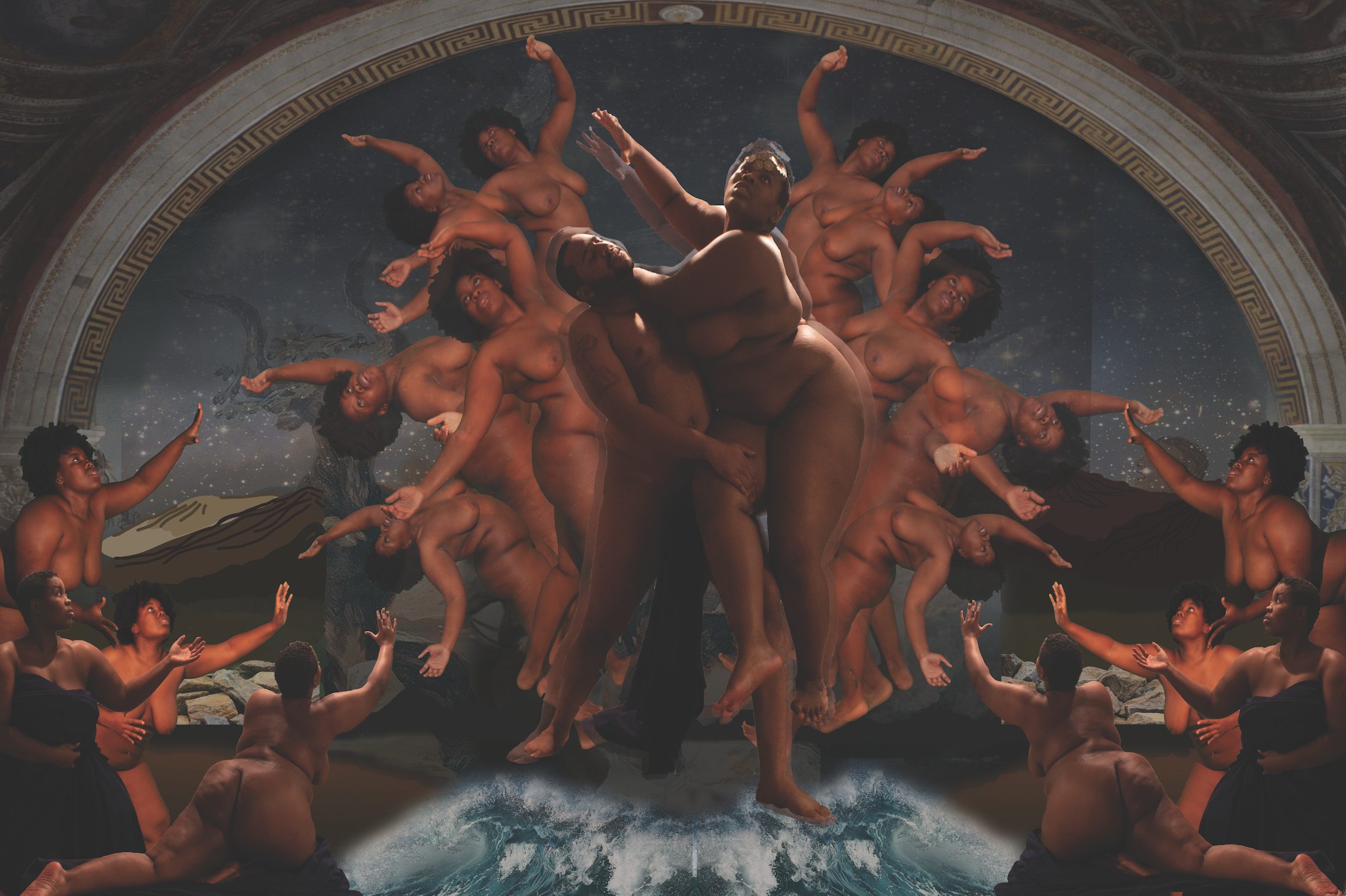 The recreation of the paining 'Rape of Innocence' in a photograph.