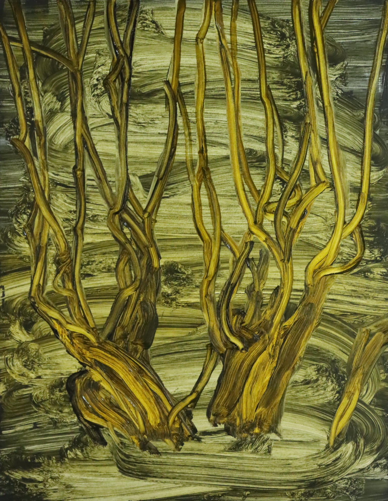 Fairly abstract painting of a group of bare trees in yellow and ochre tones, painted with fluid strokes.