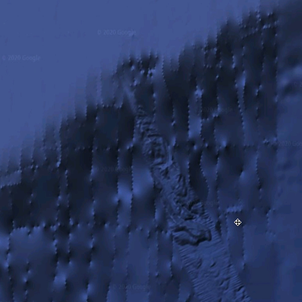 Google earth image of the ocean.