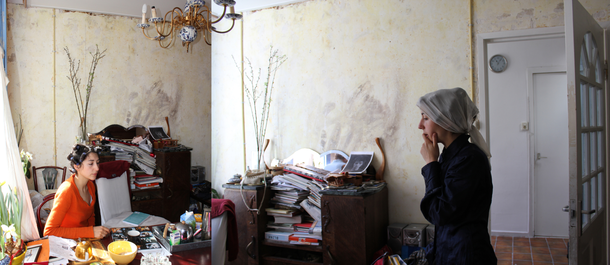 Two woman in a domestic space that has been created through a montage.